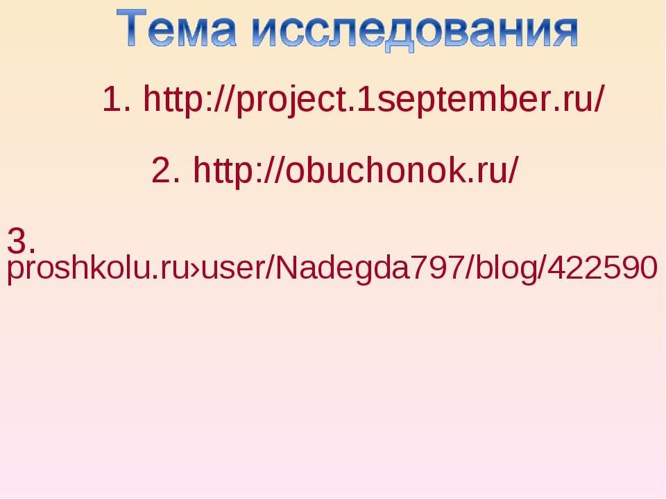 1. http://project.1september.ru/ 2. http://obuchonok.ru/ 3. proshkolu.ru›user...