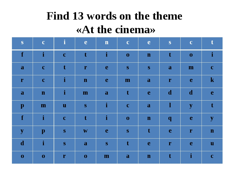 Find 13 words on the theme «At the cinema» s c i e n c e s c t f i c t i o n...