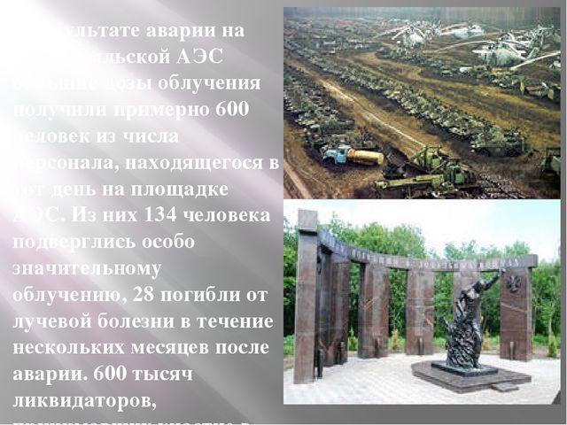 В результате аварии на Чернобыльской АЭС большие дозы облучения получили при...