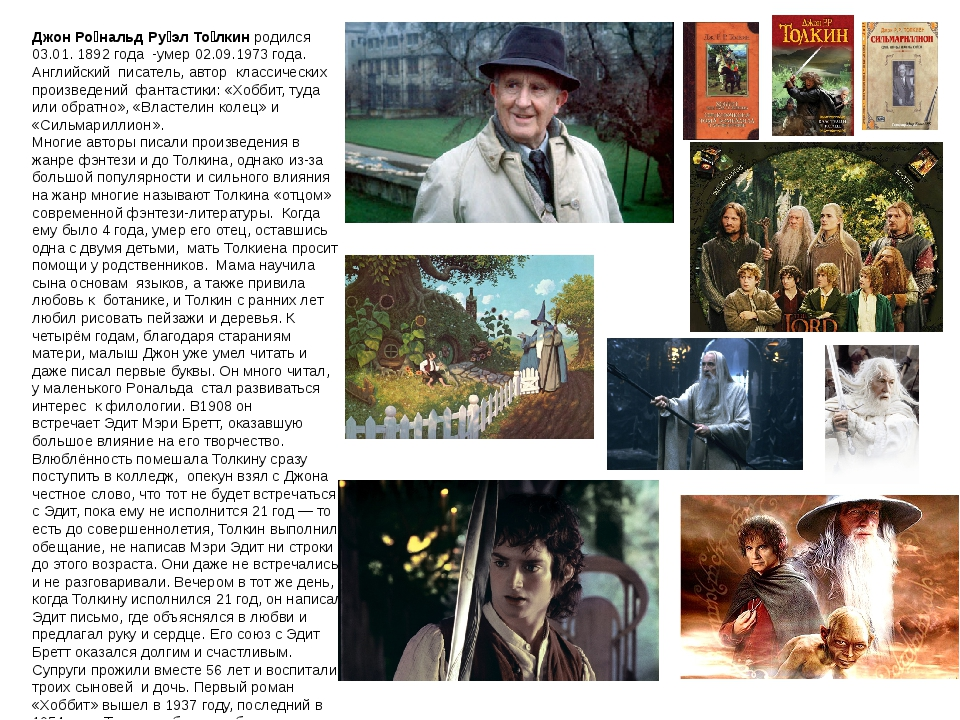 Джон Ро́нальдРу́эл То́лкин родился 03.01. 1892 года -умер 02.09.1973 года. А...