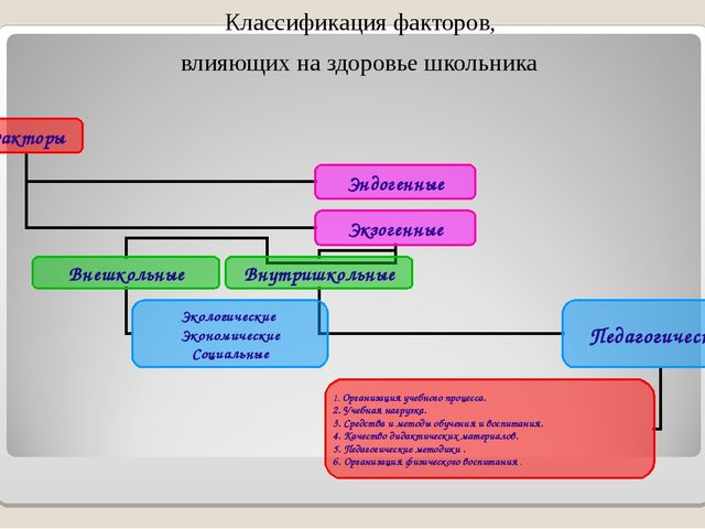 Классификация факторов, влияющих на здоровье школьника