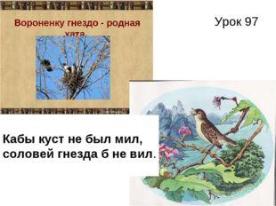 Урок 97 Кабы куст не был мил, соловей гнезда б не вил.