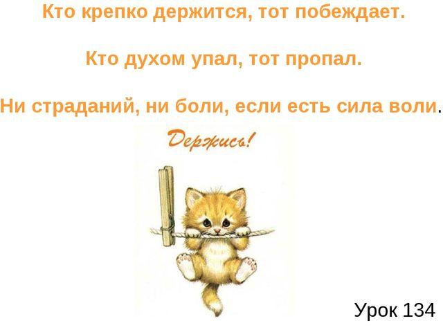 Урок 134 Кто крепко держится, тот побеждает. Кто духом упал, тот пропал. Ни с...