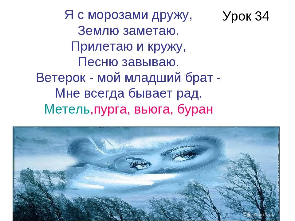 Урок 34 Я с морозами дружу, Землю заметаю. Прилетаю и кружу, Песню завываю. В...