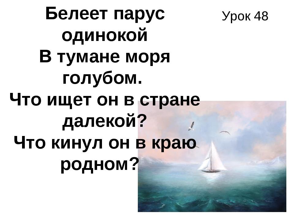 Урок 48 Белеет парус одинокой В тумане моря голубом. Что ищет он в стране да...