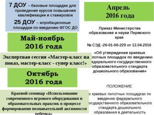 Апрель 2016 года Приказ Министерства образования и науки Пермского края № СЭД