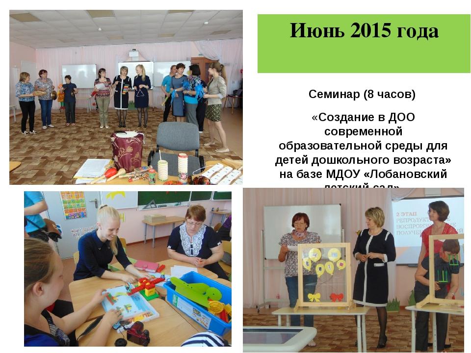 Июнь 2015 года Семинар (8 часов) «Создание в ДОО современной образовательной...