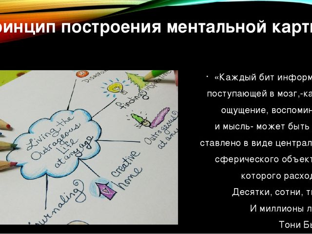 Принцип построения ментальной карты «Каждый бит информации, поступающей в моз...