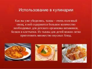 Использование в кулинарии Как вы уже убедились, тыква – очень полезный овощ,