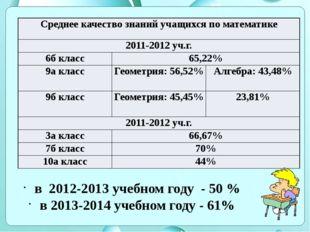 в 2012-2013 учебном году - 50 % в 2013-2014 учебном году - 61% Среднее качес