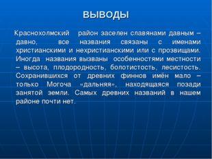 ВЫВОДЫ Краснохолмский район заселен славянами давным – давно, все названия св