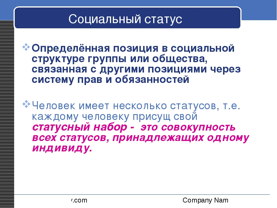 Социальный статус Определённая позиция в социальной структуре группы или обще...