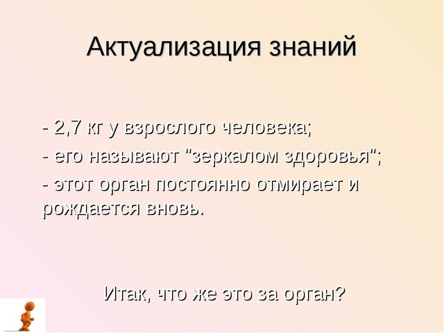 """Актуализация знаний - 2,7 кг у взрослого человека; - его называют """"зеркалом з..."""