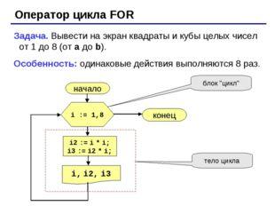 Оператор цикла FOR Задача. Вывести на экран квадраты и кубы целых чисел от 1