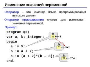 Изменение значений переменной Оператор – это команда языка программирования в