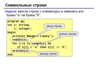 """Символьные строки Задача: ввести строку с клавиатуры и заменить все буквы """"а"""""""