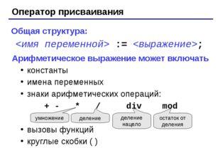 Оператор присваивания Общая структура:  := ; Арифметическое выражение может