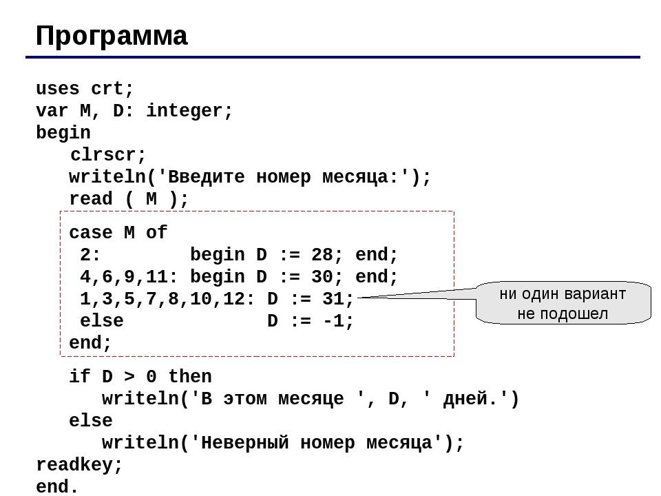 Программа uses crt; var M, D: integer; begin 	 clrscr; writeln('Введите номер...
