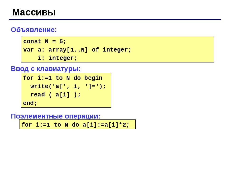 Массивы Объявление: Ввод с клавиатуры: Поэлементные операции: const N = 5; va...