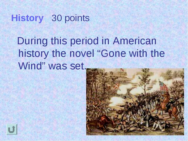"History 30 points During this period in American history the novel ""Gone with..."