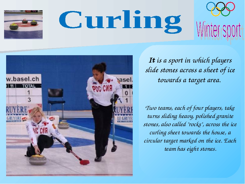 It is a sport in which players slide stones across a sheet of ice towards a t...