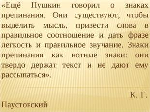 «Ещё Пушкин говорил о знаках препинания. Они существуют, чтобы выделить мысль