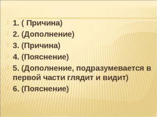 1. ( Причина) 2. (Дополнение) 3. (Причина) 4. (Пояснение) 5. (Дополнение, под
