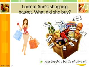 Look at Ann's shopping basket. What did she buy? ProPowerPoint.ru