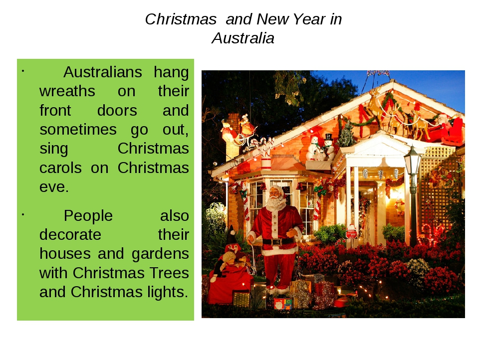 Christmas and New Year in Australia 	Australians hang wreaths on their front...