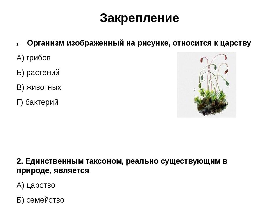 Закрепление Организм изображенный на рисунке, относится к царству А) грибов Б...