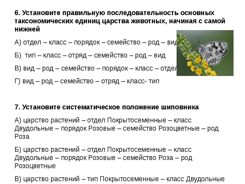 6. Установите правильную последовательность основных таксономических единиц ц...