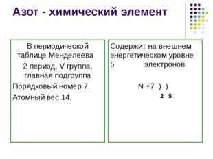 Азот - химический элемент В периодической таблице Менделеева 2 период, V груп