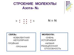 СТРОЕНИЕ МОЛЕКУЛЫ Азота- N2 N  N СВЯЗЬ: -КОВАЛЕНТНАЯ НЕПОЛЯРНАЯ -ТРОЙНАЯ -П