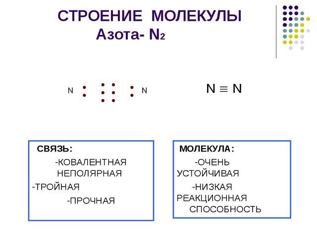 СТРОЕНИЕ МОЛЕКУЛЫ Азота- N2 N  N СВЯЗЬ: -КОВАЛЕНТНАЯ НЕПОЛЯРНАЯ -ТРОЙНАЯ -П...