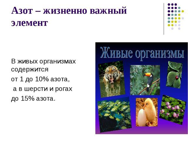 Азот – жизненно важный элемент В живых организмах содержится от 1 до 10% азот...