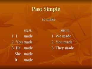 Past Simple 					to make				 			ед.ч.				мн.ч. 	1. I 	made			1. We made 	2. Y