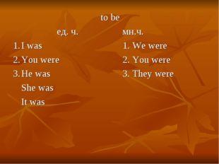 to be ед. ч.мн.ч. 1.I was1. We were 2.You were2. You were