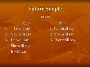 Future Simple to say ед.ч.мн.ч. 1.I shall say1. We shall say