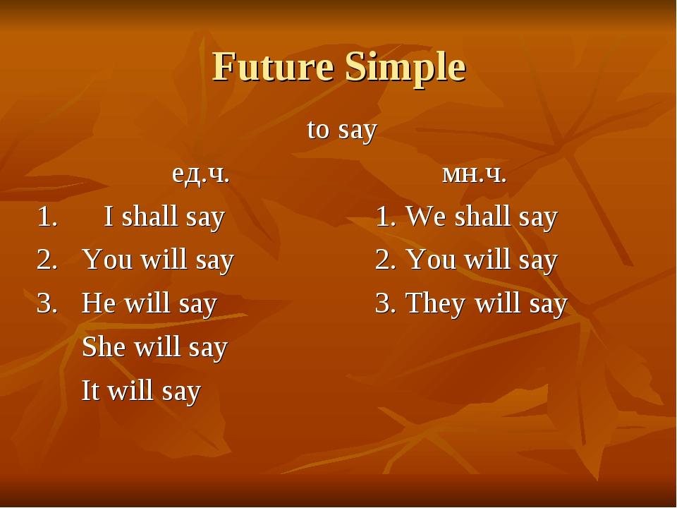 Future Simple to say ед.ч.мн.ч. 1.I shall say1. We shall say...