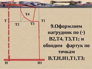 б В В1 Т Н Т1 Н1 9.Оформляем нагрудник по (·) В2,Т4, Т3,Т1; и обводим фартук