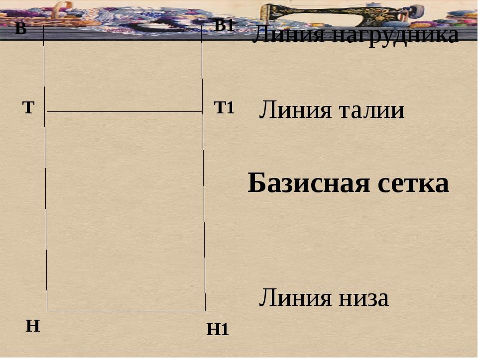 В Базисная сетка В1 Т Н Т1 Н1 Линия нагрудника Линия талии Линия низа