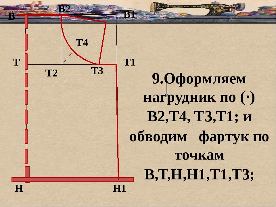 б В В1 Т Н Т1 Н1 9.Оформляем нагрудник по (·) В2,Т4, Т3,Т1; и обводим фартук...