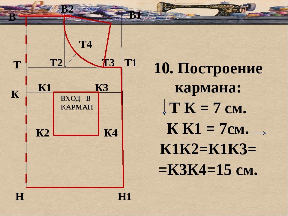 б В В1 Т Н Т1 Н1 10. Построение кармана: Т К = 7 см. К К1 = 7см. К1К2=К1К3= =...