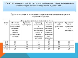 СанПин рекомендует. СанПиН 2.4.2.2821-10. Постановление Главного государствен