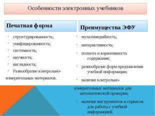 Особенности электронных учебников Печатная форма структурированность; унифици