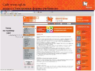 Сайт www.vgf.ru раздел «Электронные формы учебников» Заход на страницу ЭФУ