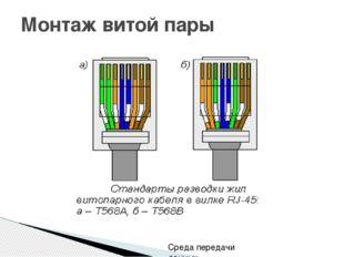 Монтаж витой пары Среда передачи данных