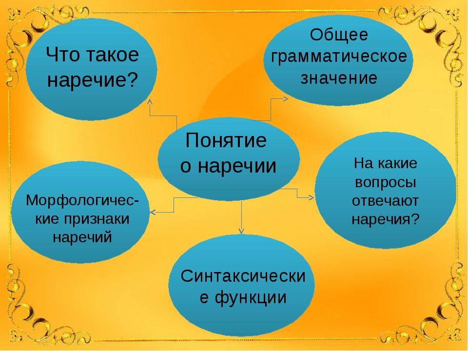 Понятие о наречии Что такое наречие? Общее грамматическое значение На какие...