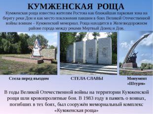 КУМЖЕНСКАЯ РОЩА СТЕЛА СЛАВЫ Стела перед въездом Монумент «Штурм» В годыВелик