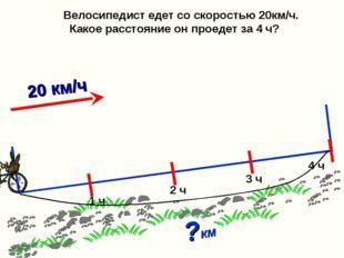 Велосипедист едет со скоростью 20км/ч. Какое расстояние он проедет за 4 ч? ?